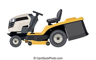 Yellow lawn mower - Yellow lawnmower on a white background