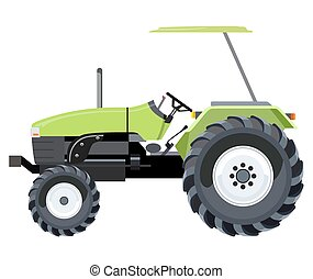 Tractor - Green tractor a side view on white background