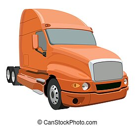 Orange truck without a trailer on a white background