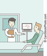 Doctor visiting patient - A smiling asian doctor visits a...