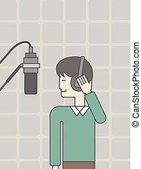 Singer in studio.