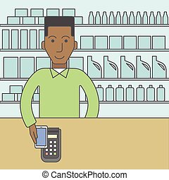 Paying using smartphone - An african-american customer...