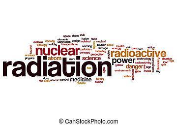 radiación, concepto, palabra, nube