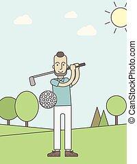 Golf player man.