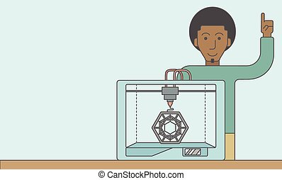 Three D printing - An african-american man standing with 3D...