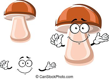 Cartoon fresh brown mushroom character - Fresh brown porcini...