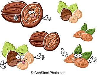 Almond, walnut and hazelnut with kernels - Funny walnut,...
