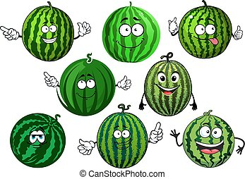 Cartoon green striped watermelon fruits - Sweet green...