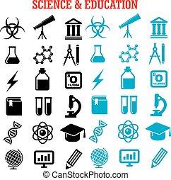 Ciencia, plano, Conjunto, educación, iconos