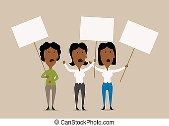 Cartoon businesswomen protesters with placards - Excited...