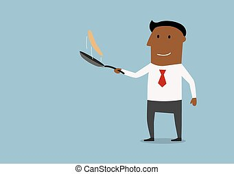 Happy businessman tossing up pancake - Cheerful african...