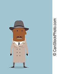 Detective man or spy agent in coat and hat - Serious african...