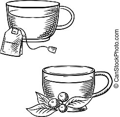 Cup of tea with teabag and cowberry sketches - Cups of hot...