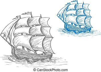 Old sailing ship in stormy waves - Old sailing ship sketch...