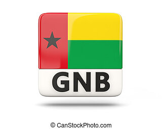 Square icon with flag of guinea bissau and ISO code