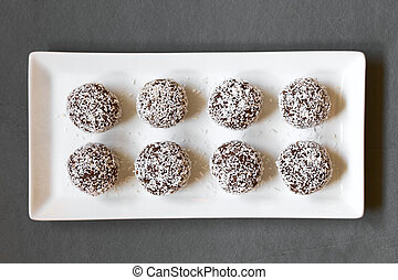 Coconut Rum Balls - Coconut rum balls on plate, photographed...