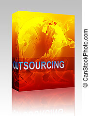Outsourcing globalization illustration box package -...