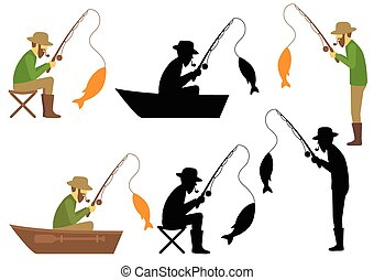 fishing vector illustration, fisherman with rod and fish