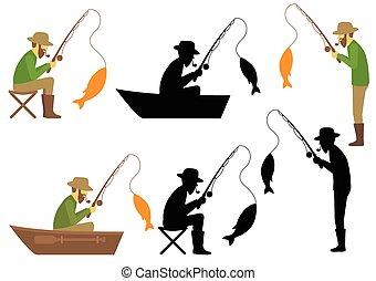 pesca, vetorial, Ilustração, Pescador,