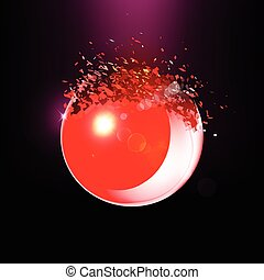 Red 3D ball exploded into pieces - Red 3D ball with flares...