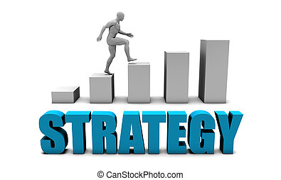 Strategy 3D Concept  in Blue with Bar Chart Graph