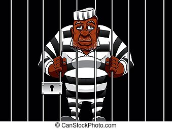 Cartoon prisoner behind bars in the prison