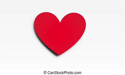 Red Heart video animation - red heart on white background,...