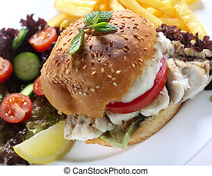 Fish burger meal with fries