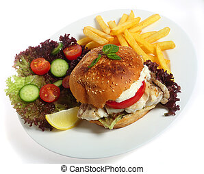 Fish burger meal