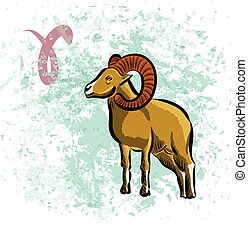 Aries sign of the Zodiac Hand-drawn vector illustration