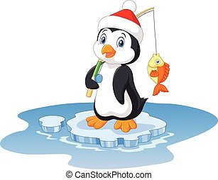Illustration of penguin fishing - Vector illustration of...