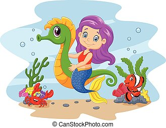 Cartoon cute mermaid riding seahors - Vector illustration of...