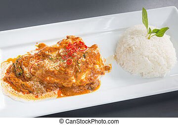 Red Curry chicken rice - Chicken Fillet Red Curry with...
