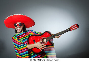 Mexican playing guitar wearing sombrero