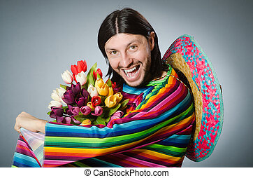 Mexican man with tulip flowers