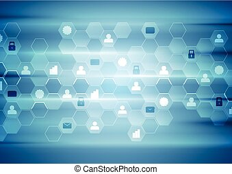 Blue tech communication abstract background
