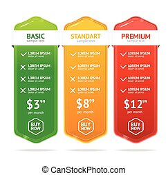 Pricing List. Vector - Pricing List. Interface For The Site....
