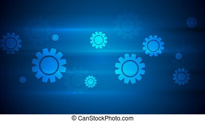 Dark blue hi-tech video animation with gears - Dark blue...