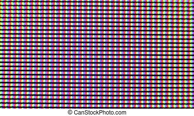 Flashing digital TV Screen Pixels Macro - Red, green and...