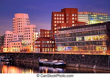 Dusseldorf, Germany - The Media Harbor Medienhafen in...