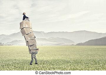 Man with carton boxes