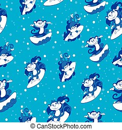 Vector Blue Surfing Monkeys Seamless Pattern. California...