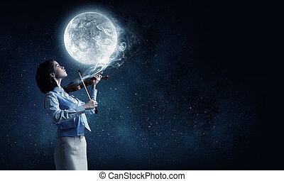 Pretty female violinist