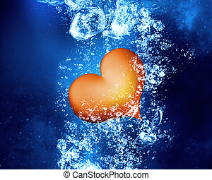 Red heart under water