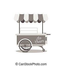 Vintage Ice-Cream Cart Black and white vector Illustration...