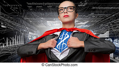 She is super financier - Young woman acting like super hero...