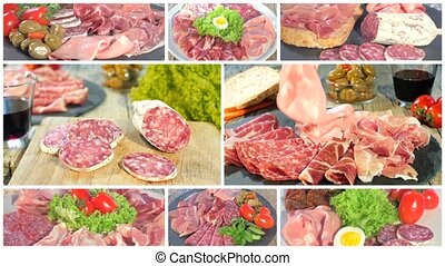 italian cured meat platters collage - a montage including...