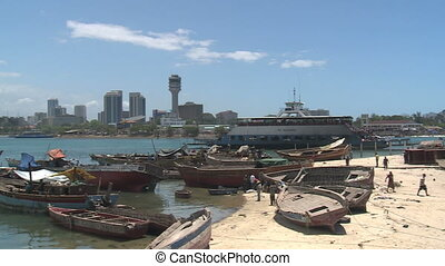 dar es salam, tanzania - view across the bay to dar es...