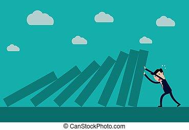 Businessman pushing hard against falling deck of domino...