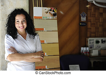 portait of a floor store owner - small business: portait of...